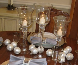 Candle light and silver balls
