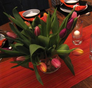 Tulips in hot pink, purple and yellow/orange