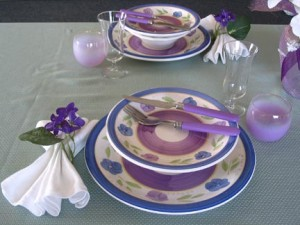 Purple dinnerware