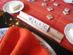 Use Scrabble tiles instead of place cards