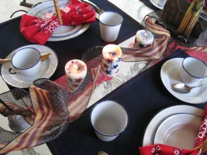 Patriotic candles and ribbon for the centerpiece