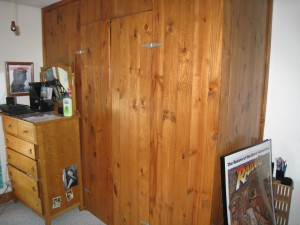 We built the wood closet to look like an orignal closet in the master bedroom circa 1890's.