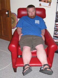 Doesn't Patrick look comfortable and relaxed in his new recliner?