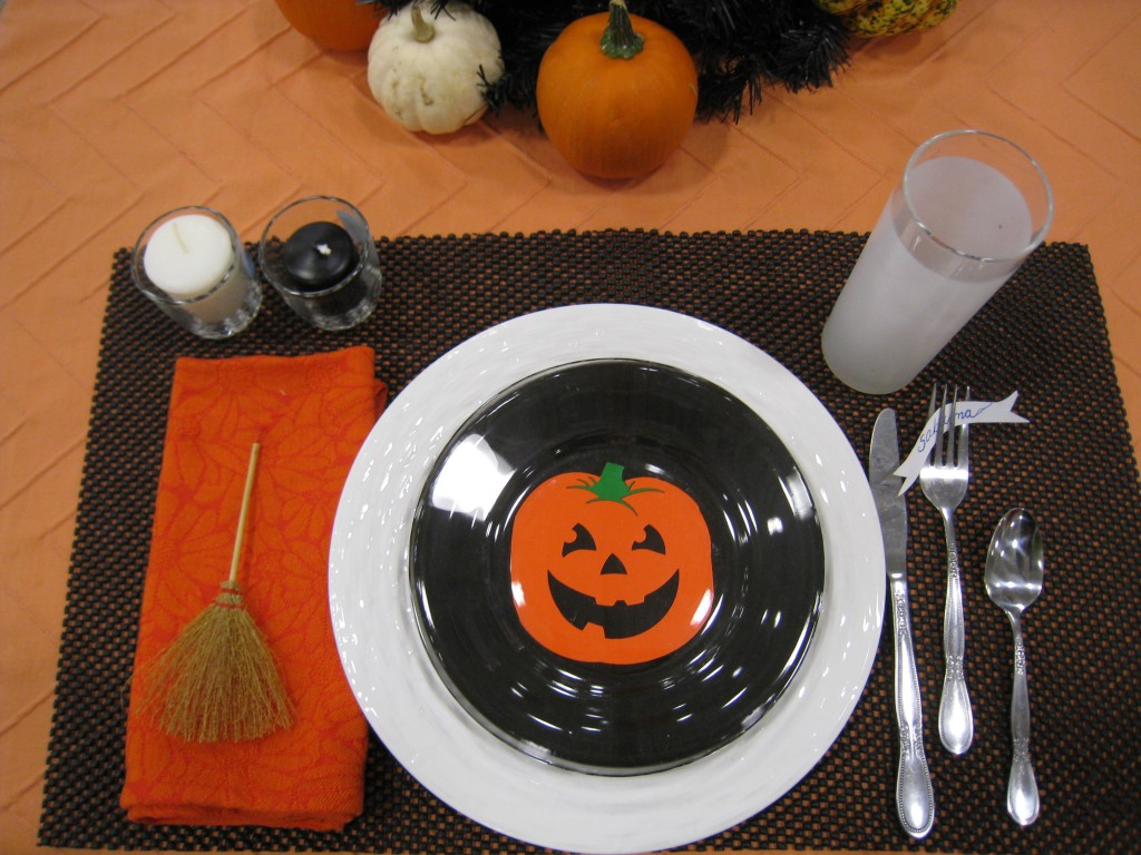 Put together is Halloween table setting in no time!