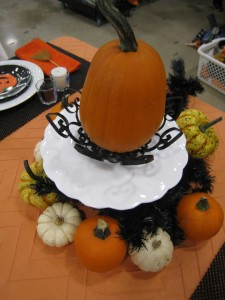 The centerpiece is so easy when you use lots of pumpkins and gourds