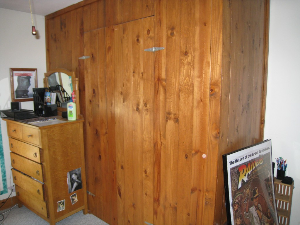 We chose wood instead of drywall for this closet to resemble another one that ciould be 80 years old.