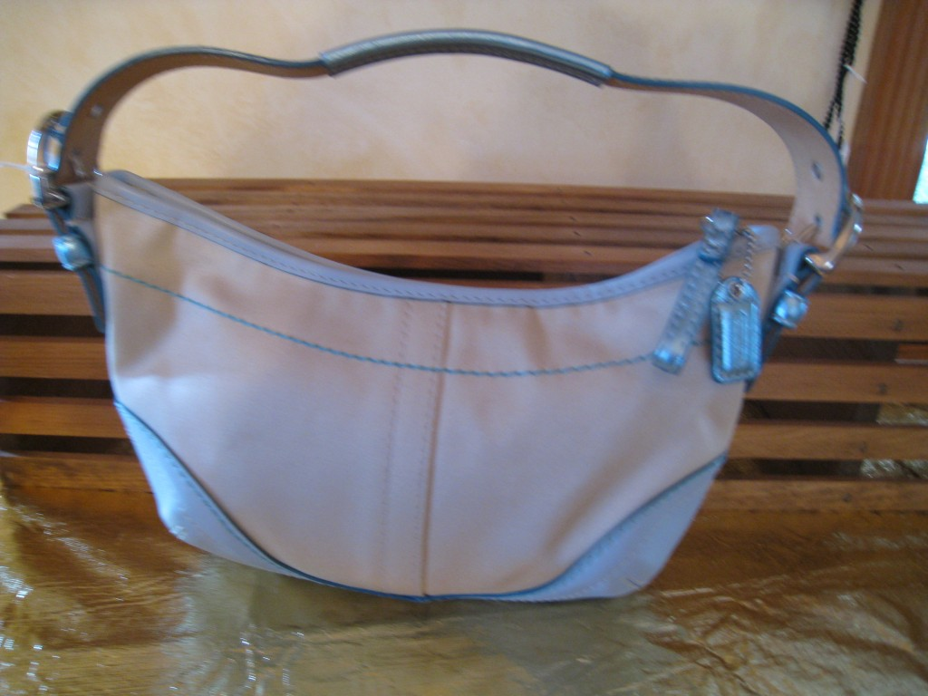 Coach. Beige fabic with metallic blue corners.  $30.00
