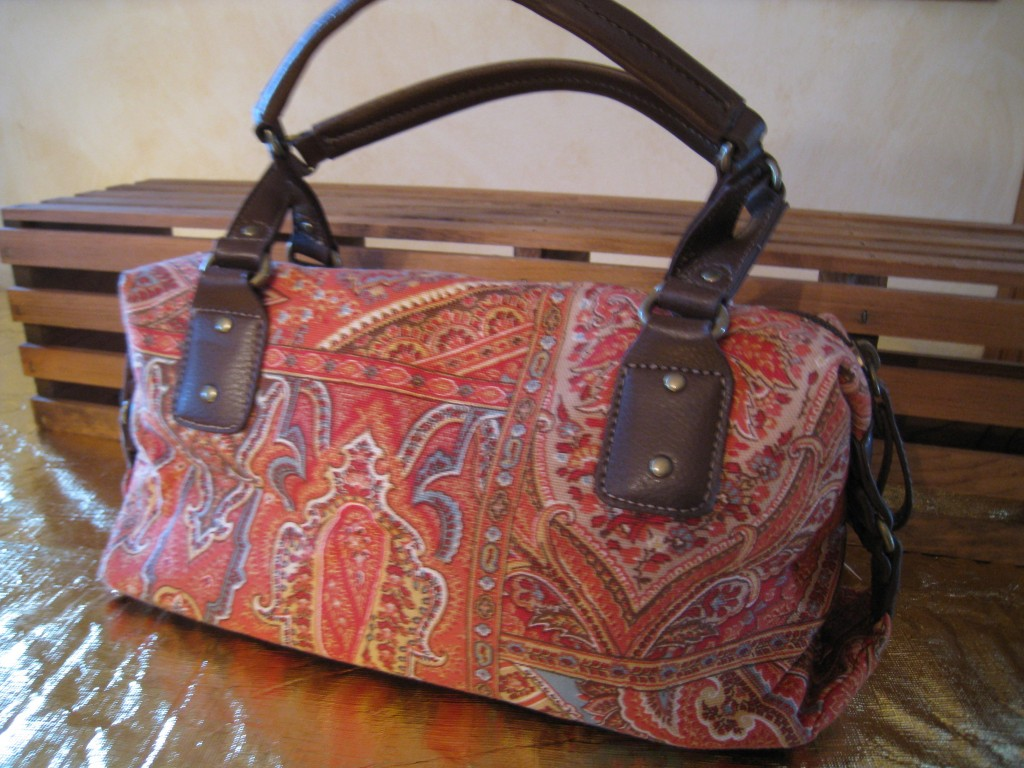 Relic paisley bag in shades of red and orange.  $10.00