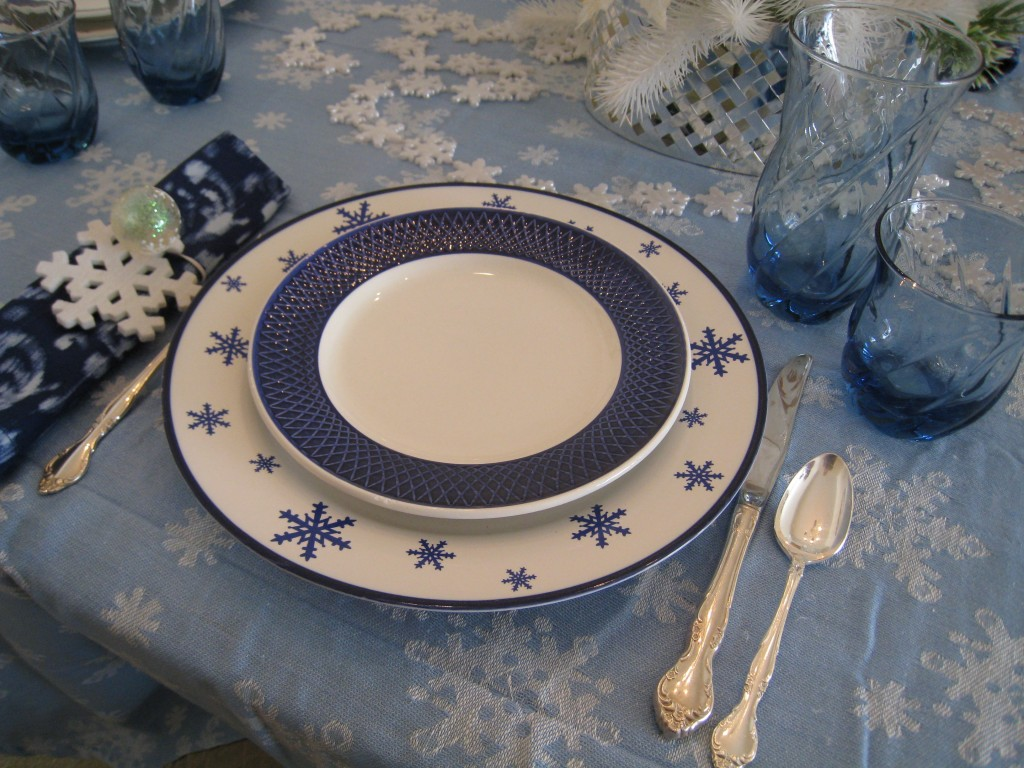Snowflake plates were a lucky find at Goodwill