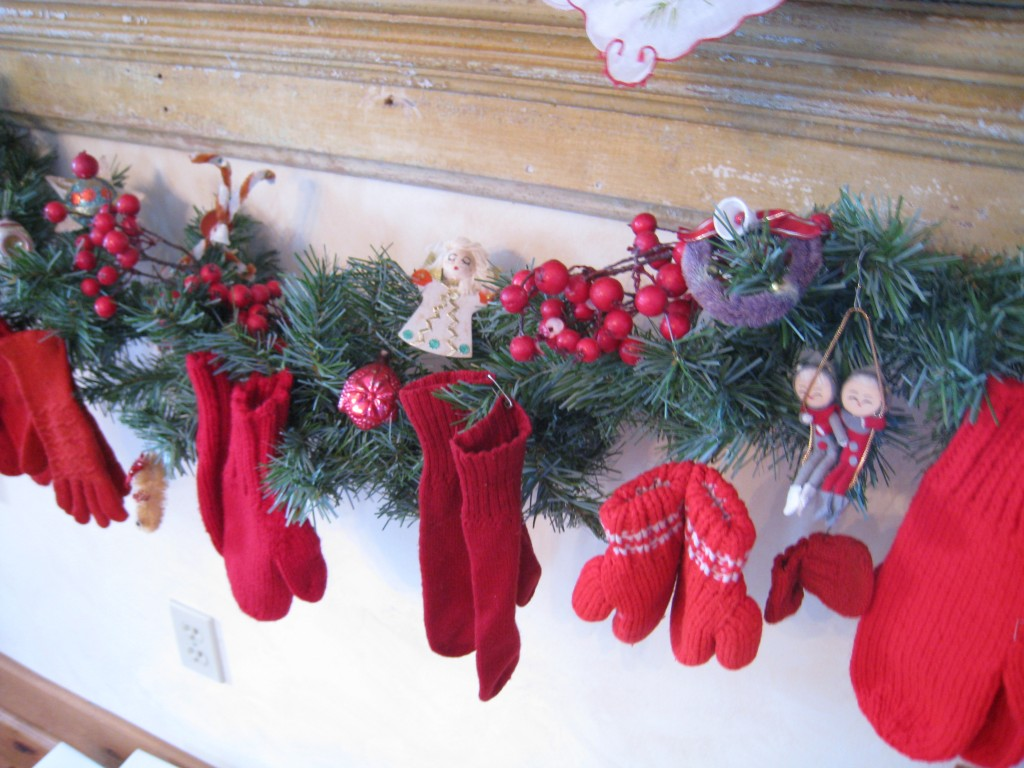 Hang vintage mittens in all shapes and sizes