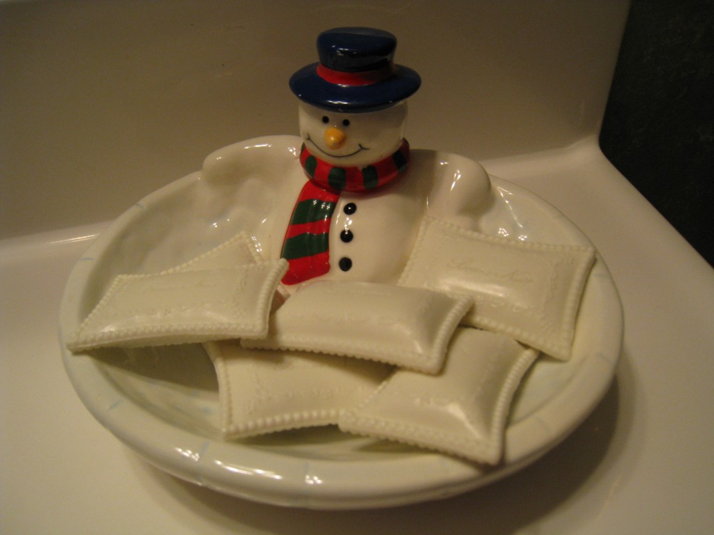 This snowman candy dish is perfect for fancy soap in a guest bathroom.