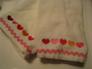 One year it was heart embroidered hand towels.