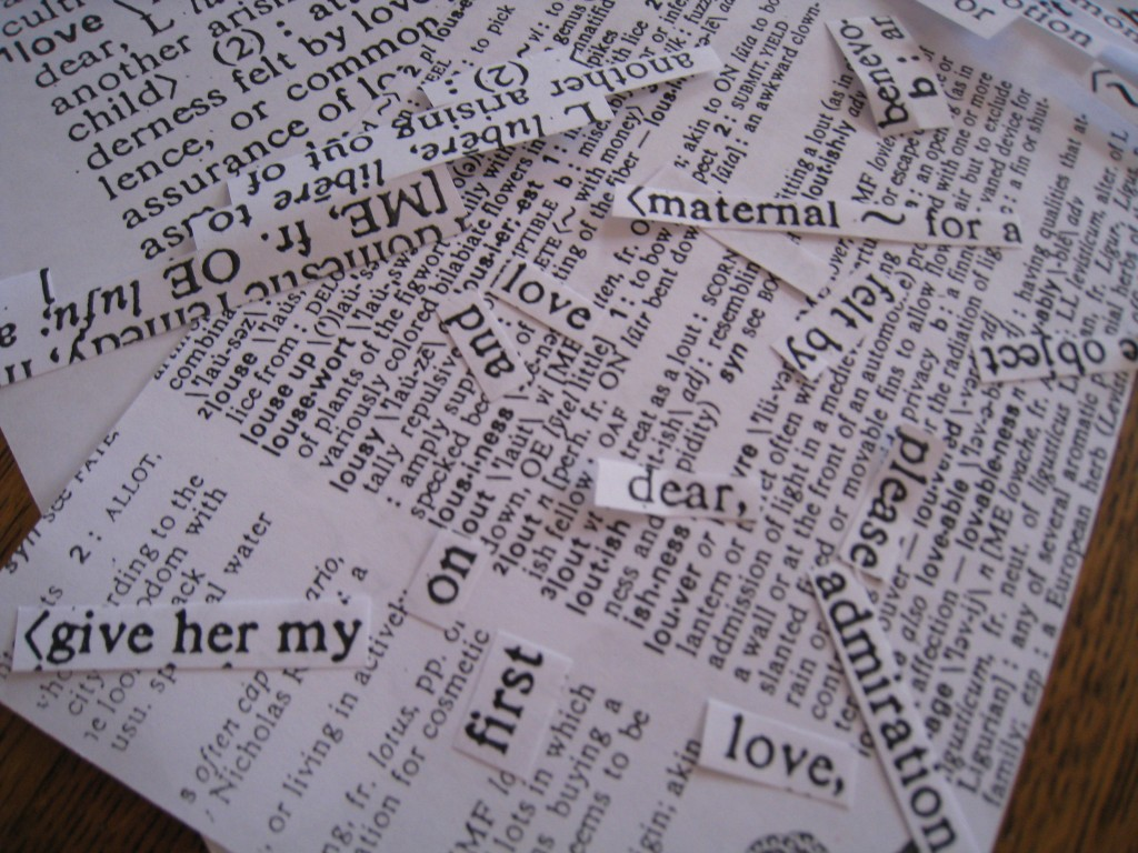 Cut out the love words that are appropriate