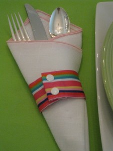 Brighten your holiday table with a lime green table cloth.  The grosgrain napkin ring keeps utensils neatly tucked into the folded napkin.  A perfect solution for an Easter brunch.
