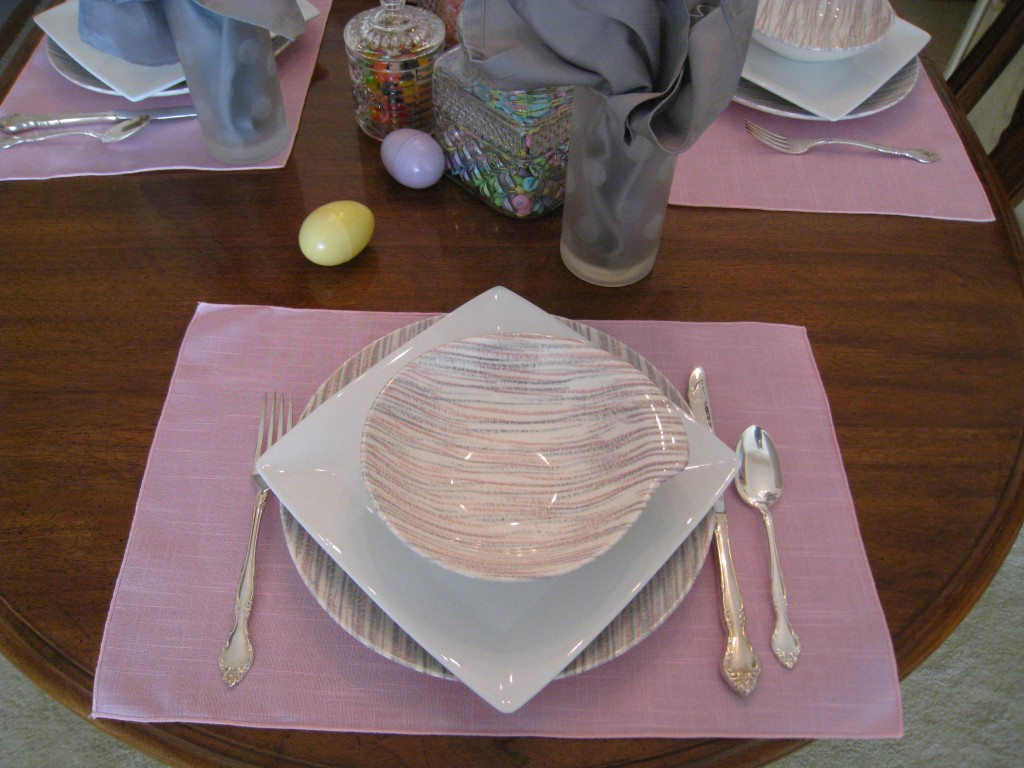 The touch of grey keeps the placesetting from being too feminine.
