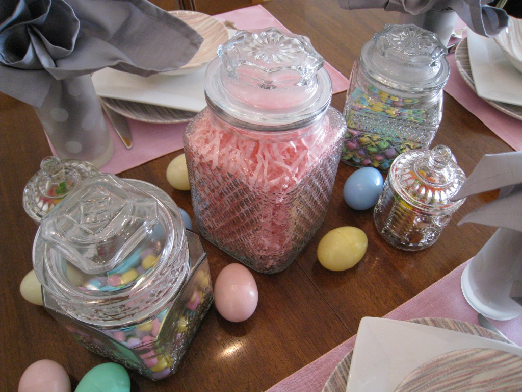 Instead of the usual Easter basket, serve candy in old-fashion apothacary jars.