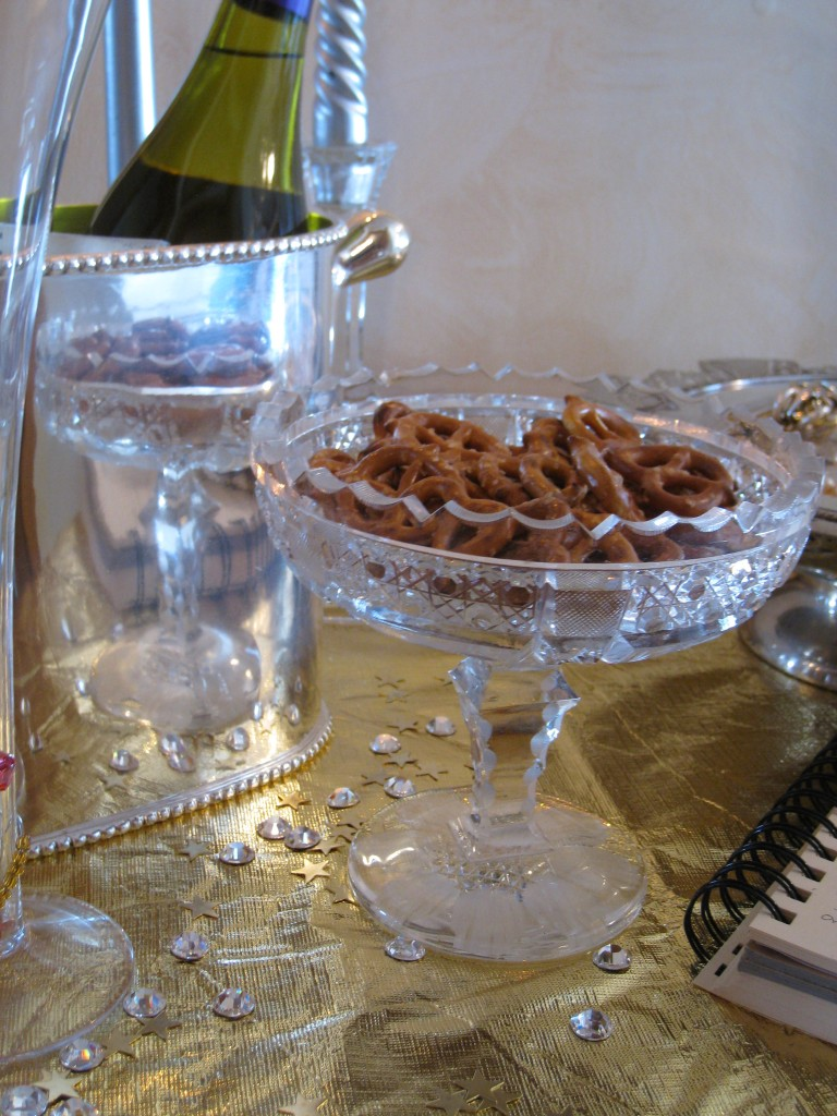 Even pretzels look gourmet when served in a cut crystl candy dish!