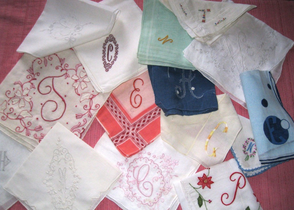 Handkerchiefs come in all sizes, colors and intials