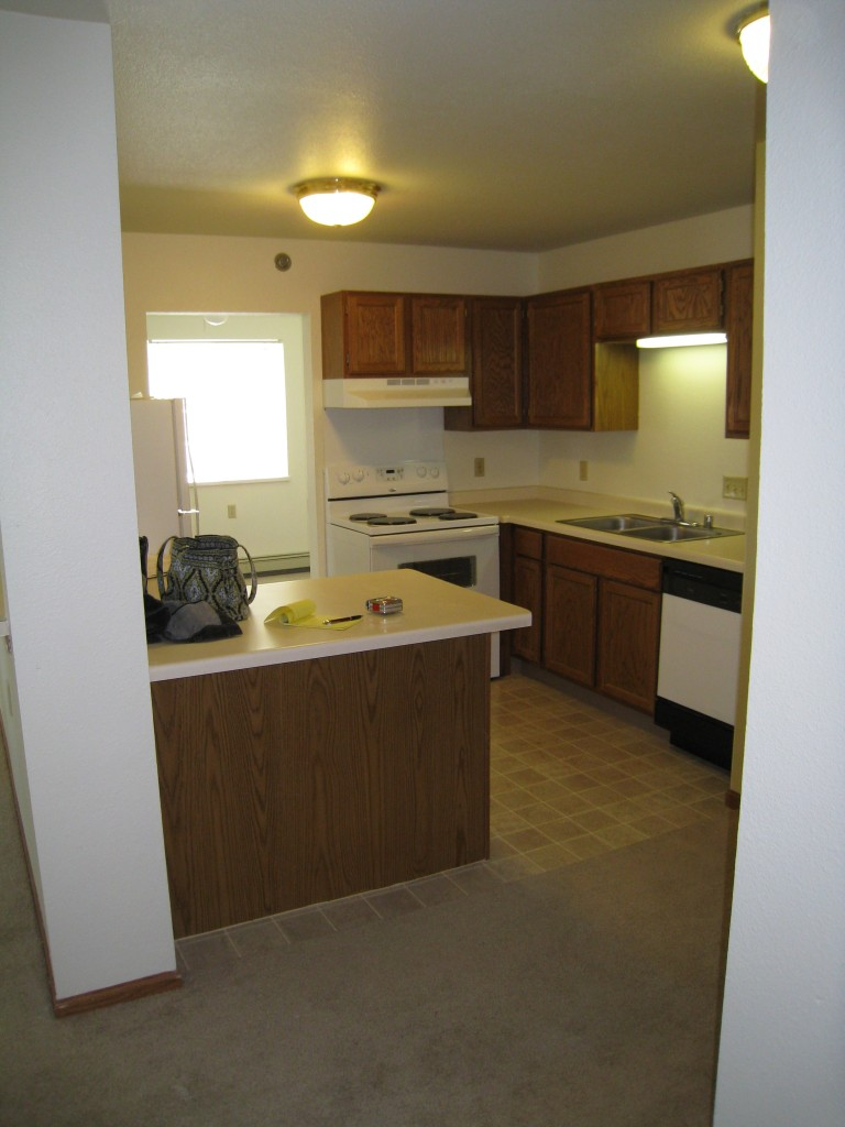 Most apartments have small kitchens.  This one has a snack bar for meals for one.