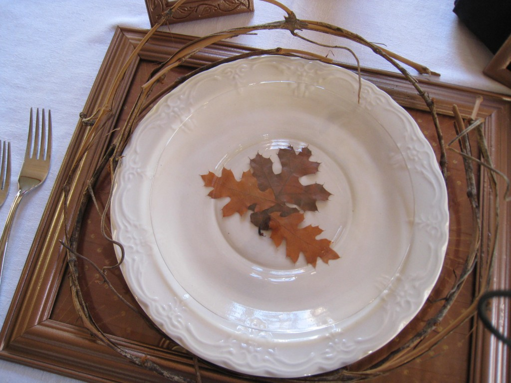 Design your own dinnerware with leaves and clear salad plates