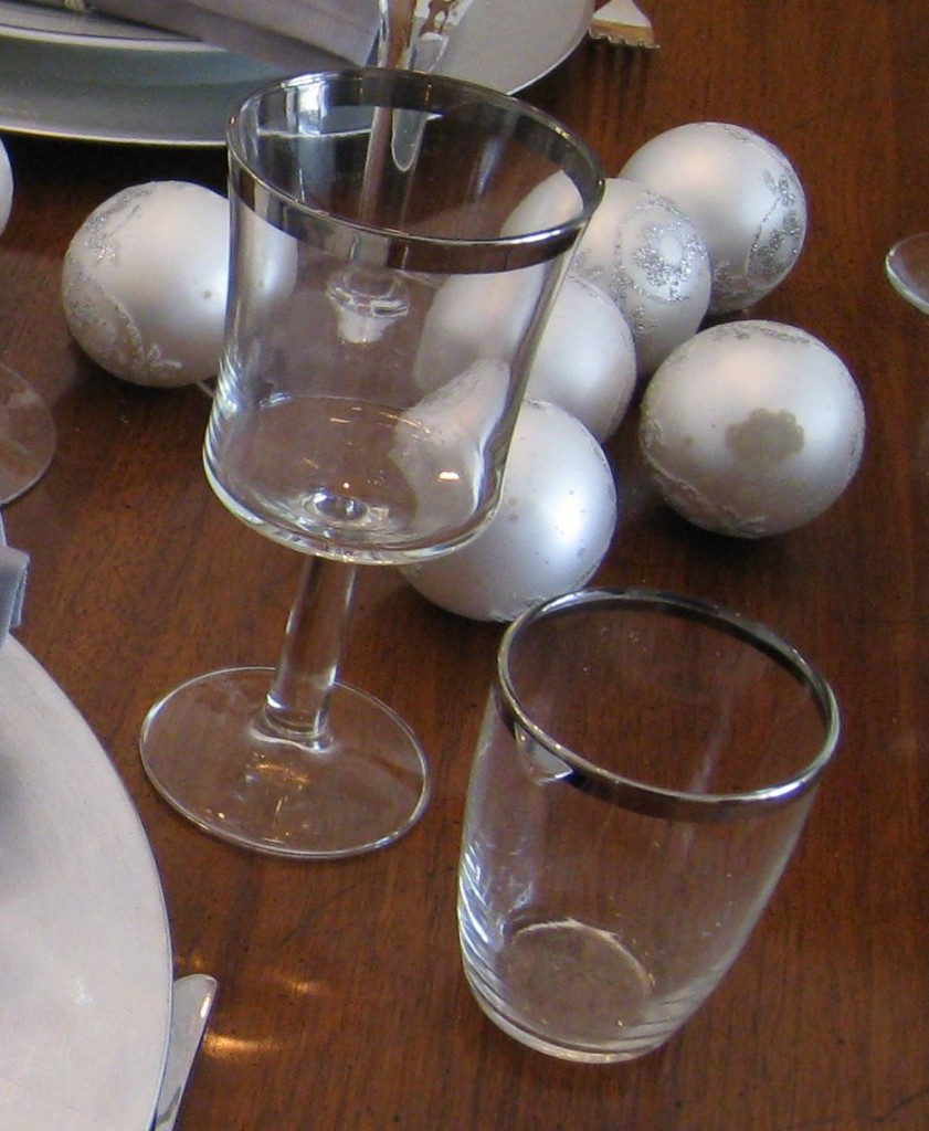 Look for coordinating glasses and stemware, but they don't need to be from the same set.