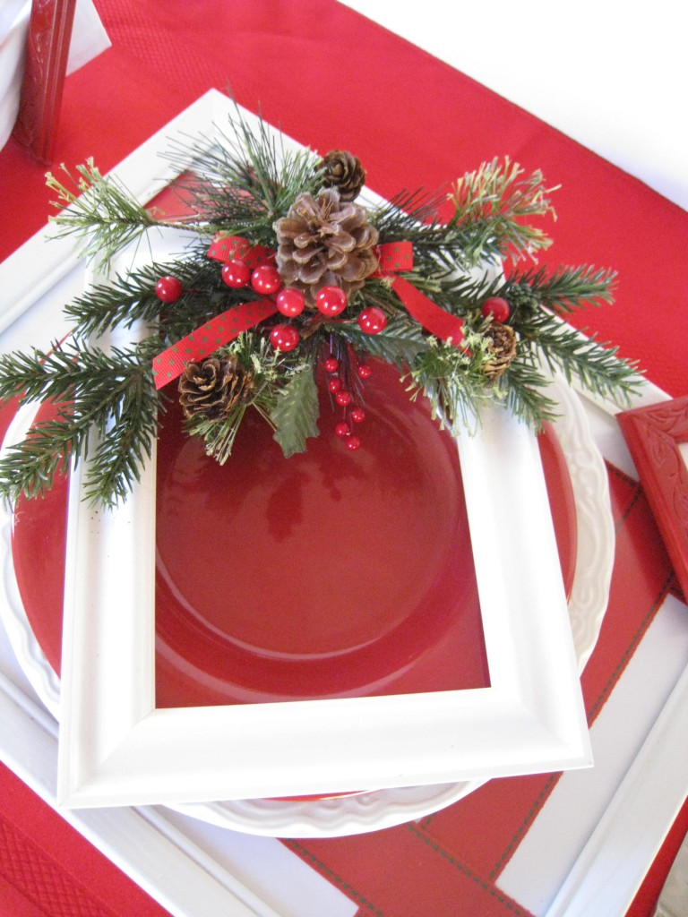 A great table has an unexpected touch.  The decorated frame adds a really festive touch.