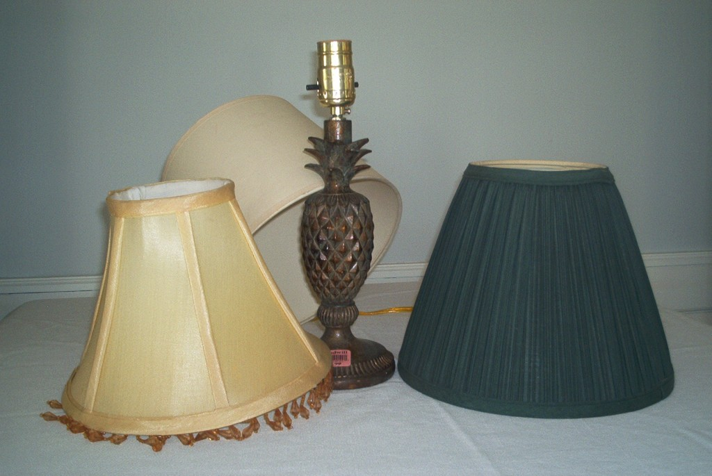 When shopping at resale stores, look for lamps that work (test it out before you buy) and shades that aren't bent.