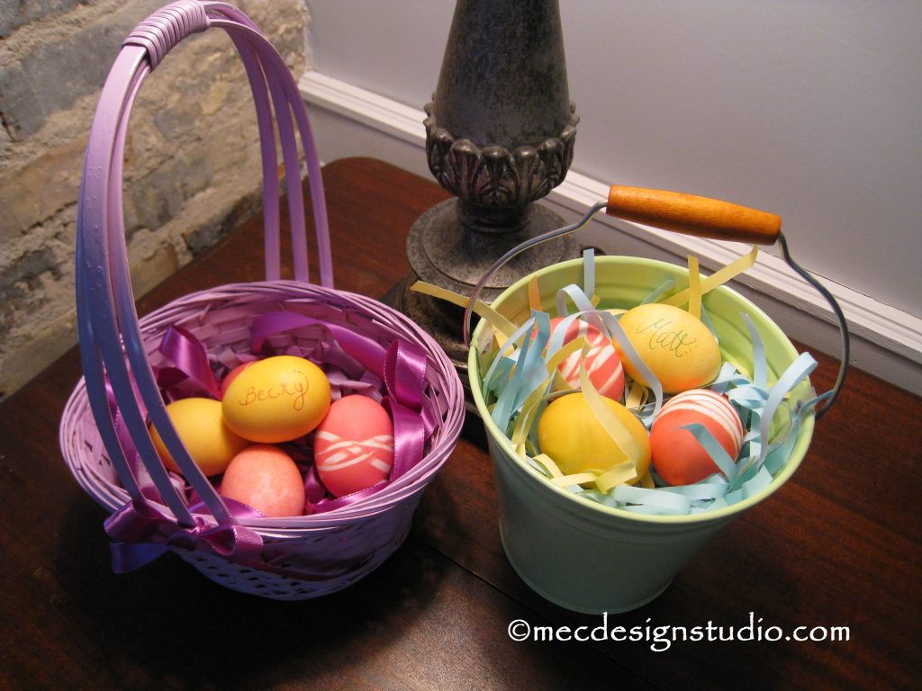 Easter Basket Ribbon and Paper Grass