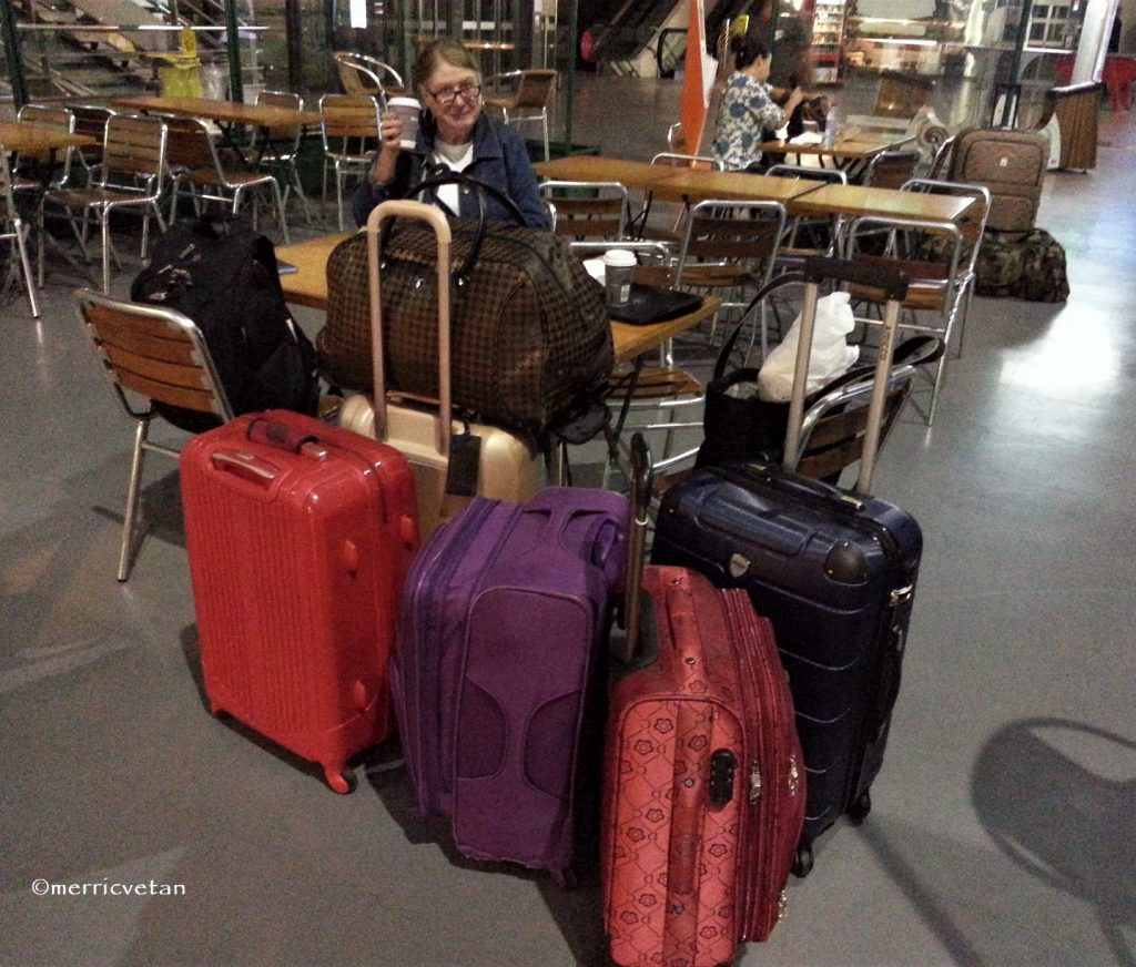 2 Women ~ 6 Bags. In my defense, we were on a flea market shopping trip. I bought 2 suitcases in France!